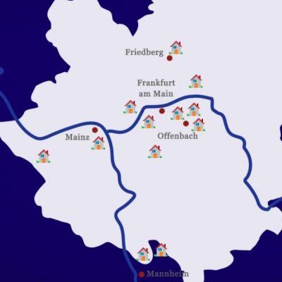 Lage der Immobilienobjekte der Kapitalanlage ENERGIEZINS IMMOBILIEN 2017