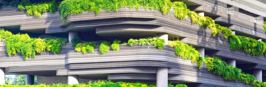 Neumodisches Gebäude mit hellgrüner Terrassenbepflanzung