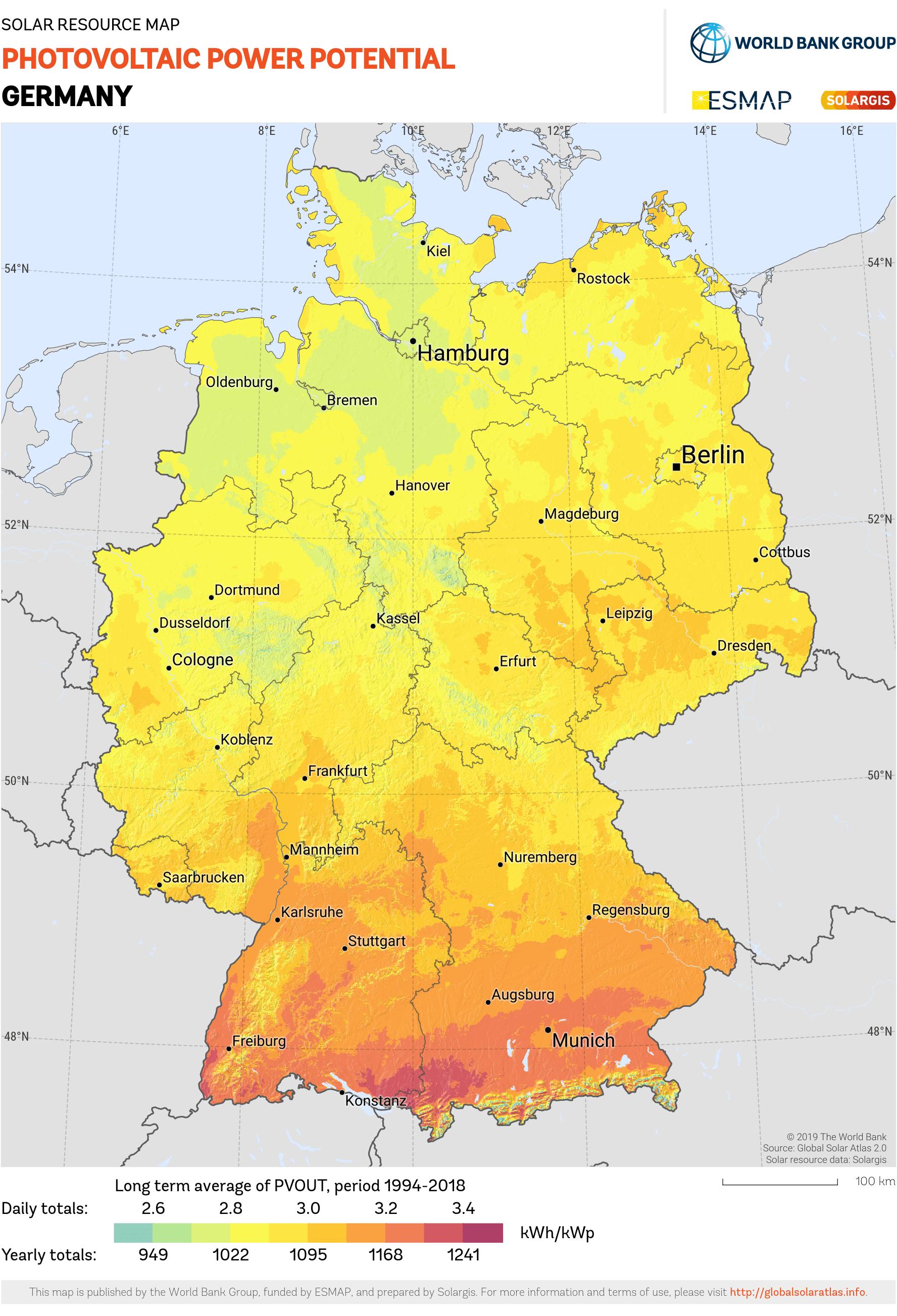Durchschnittliche jährliche Sonneneinstrahlung in Deutschland