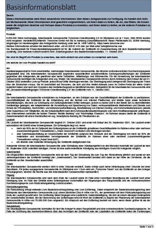 Tomorrow Basisinformationsblatt 2.0