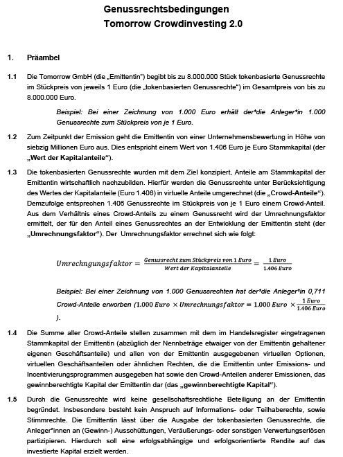 Tomorrow Genussrechtsbedingungen 2.0